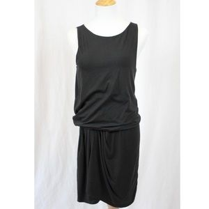 Theory Drop Waist Ruched Black Mini Dress Medium